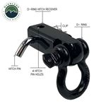 Receiver Mount Recovery Shackle 34 475 Ton With Dual Hole Black and Pin and Clip 2