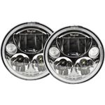 Kit Of Two Black Chrome Face 575 Round Vx Led Headlight W Low-High-Halo 2