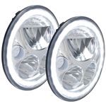 Pair Of 7 Round Vx Led Headlight W Low-High-Halo 2