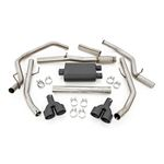 Dual Cat-Back Exhaust System w/Black Tips 19-20 Silverado 1500 5.3 Liter Rough Country 2