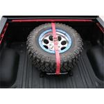 Textured Black Bed Mounted Tire Carrier w Red Strap BM1TCRDTX 2