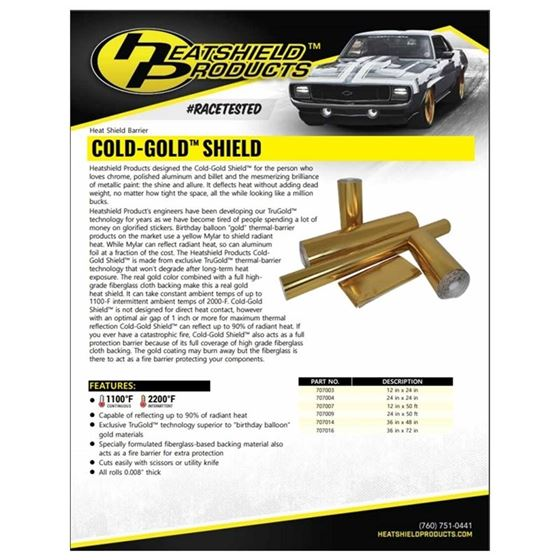 Cold Gold Heat Shield 12 X 50 2