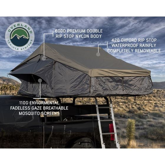Nomadic 4 Extended Roof Top Tent  Dark Gray Base With Green Rain Fly and Black Cover 2