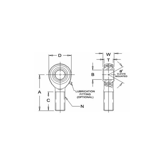 JMX20M Male Right Hand Rod End 20 Bore x M20 x 15 Thread 2