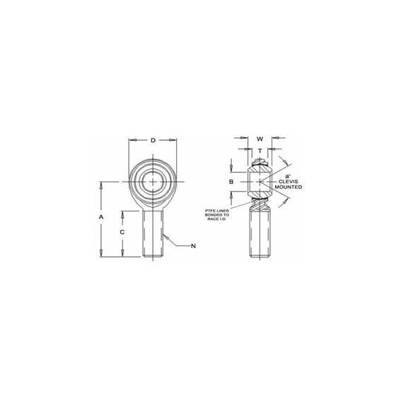 JML10M Male Left Hand Rod End 10 Bore x M10 x 15 Thread 2