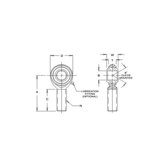 CM8T Teflon Male Right Hand Rod End 5000 Bore x 1220 Thread 2