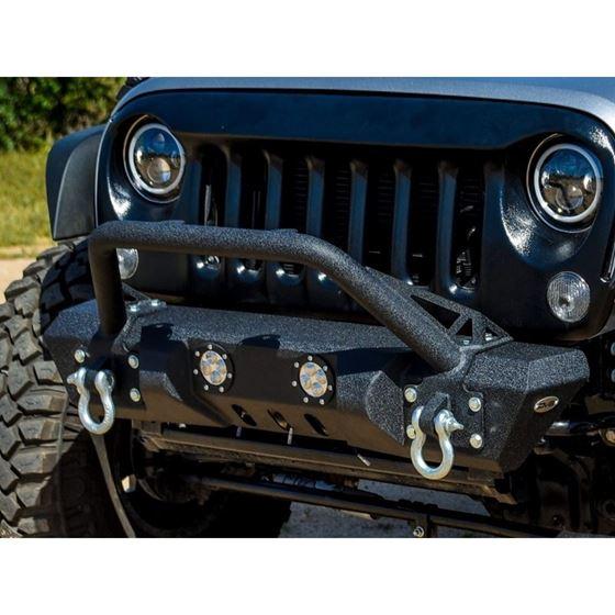 Jeep JK Front Bumper w LED Lights 078 Wrangler JK Steel Mid Length Stubby W Winch Plate 2