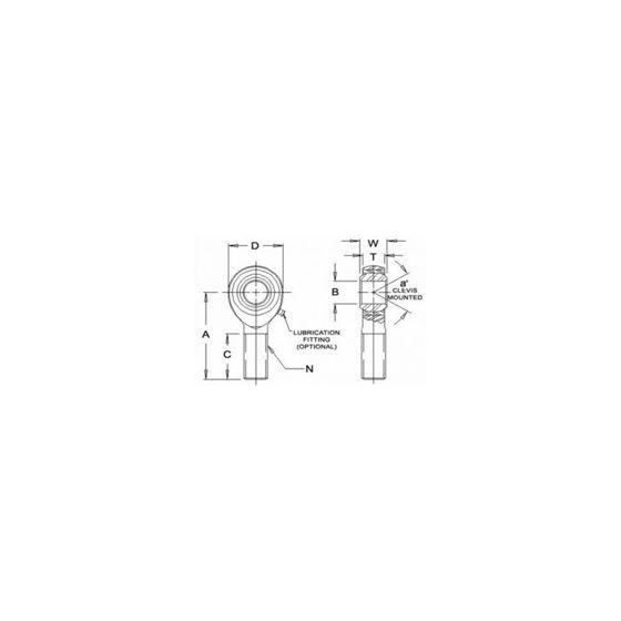 RSML8T Teflon Male Left Hand Rod End 5000 Bore x 5818 Thread 2
