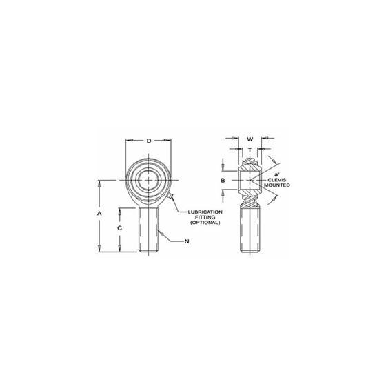 CM12MF Male Right Hand Rod End 12 Bore x M12x125 Thread 2