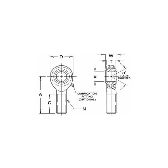 JMXL10TF1 Tighter Teflon Male Left Hand Rod End 6250 Bore x 5818 Thread 2