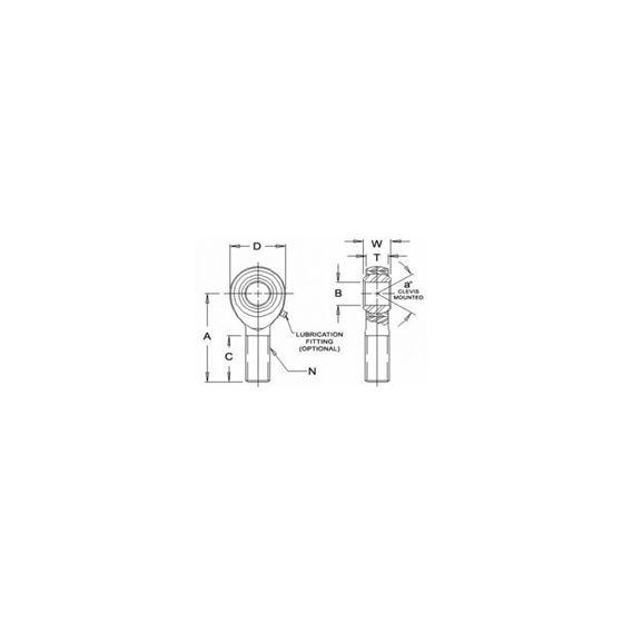JMX12MTF1 Tighter Teflon Male Right Hand Rod End 12 Bore x M12x175 Thread 2