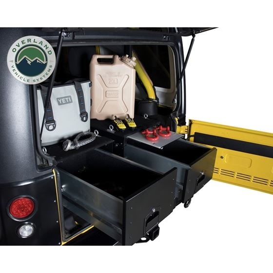 Cargo Box With Slide Out Drawer and Working Station Size  Black Powder Coat 4