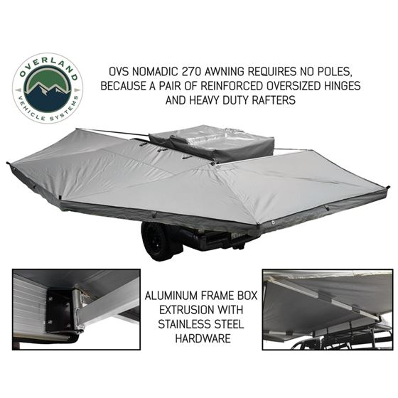 Nomadic Awning 270  Dark Gray Cover With Black Transit Cover Driver Side and Brackets 2