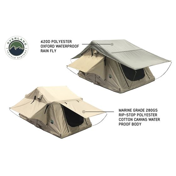 TMBK 3 Roof Top Tent  Tan Base With Green Rain Fly 2