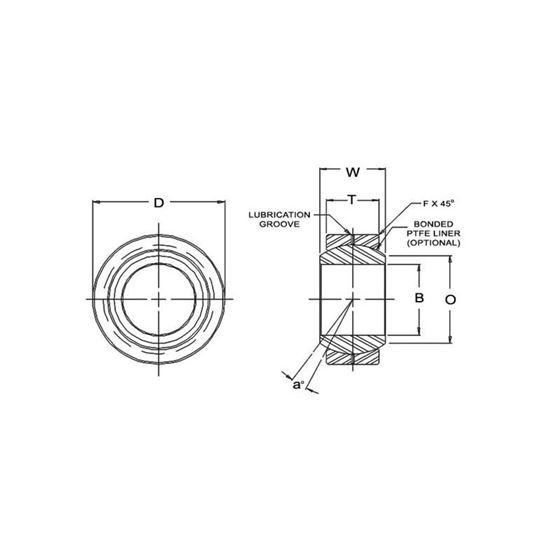 AIN16 Spherical Bearings 1 Bore 2