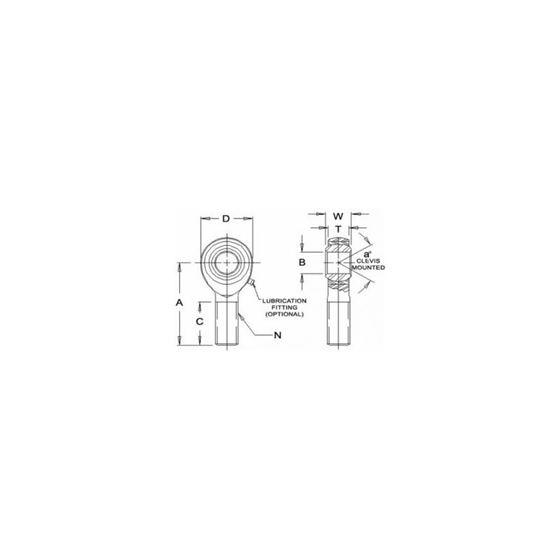 RSMX8T Teflon Male Right Hand Rod End 5000 Bore x 5818 Thread 2