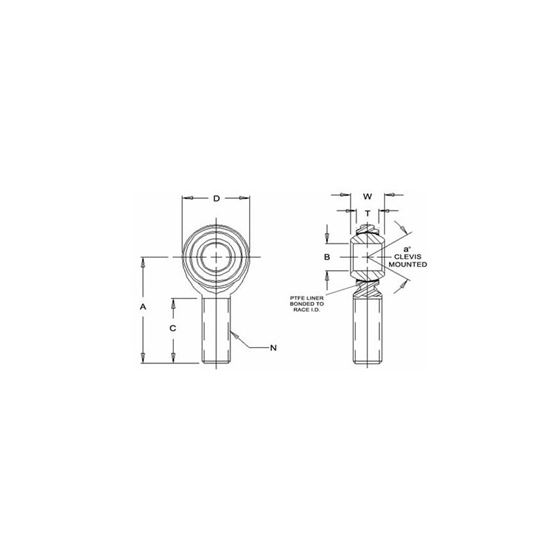 JM14MTF1 Tighter Teflon Male Right Hand Rod End 14 Bore x M14x20 Thread 2