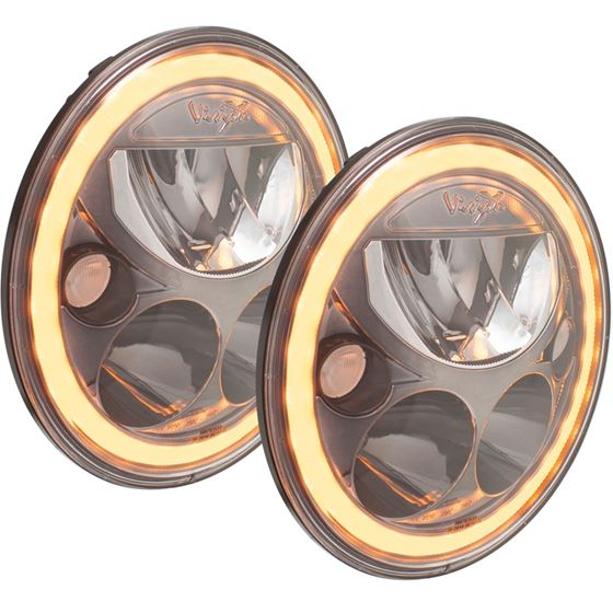 Pair Of 7 Round Amber Halo Vx Series Black Chrome Face Led Headlight W Low-High-Halo 2