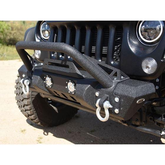 Jeep JK Front Bumper w LED Lights 078 Wrangler JK Steel Mid Length Stubby W Winch Plate 4