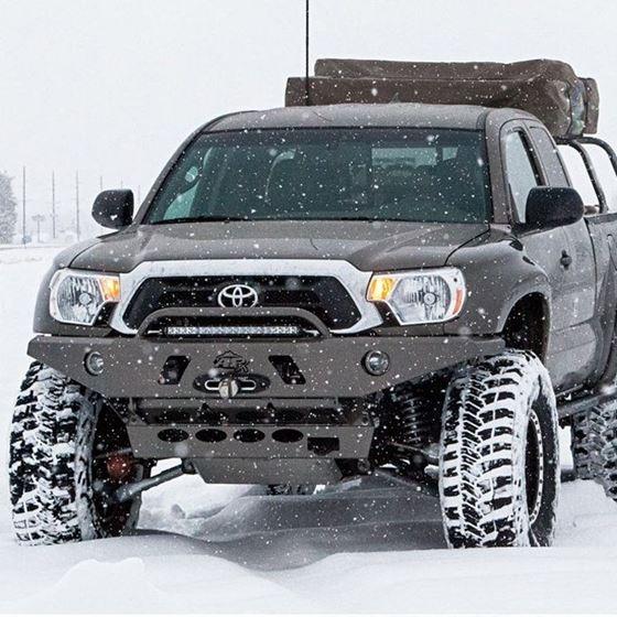 0515 Toyota Tacoma APEX Aluminum Front Bumper with LED Hoop Black Powdercoat 2