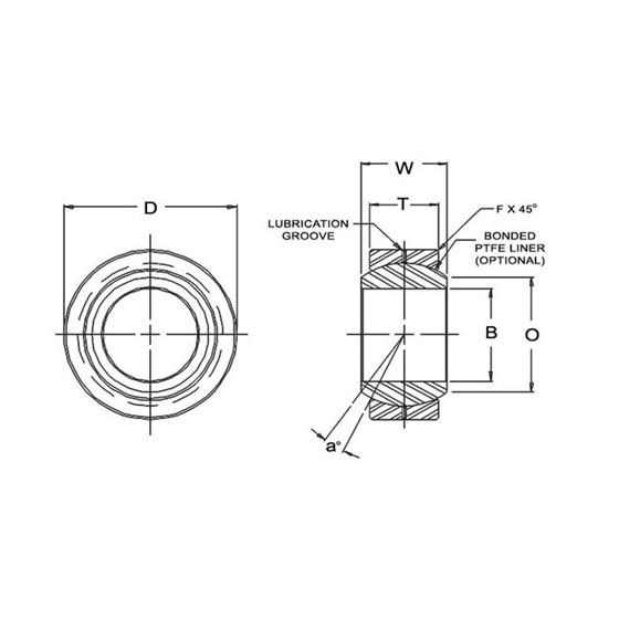 COM10TF1 Tighter Teflon Spherical Bearings 0625 Bore 2