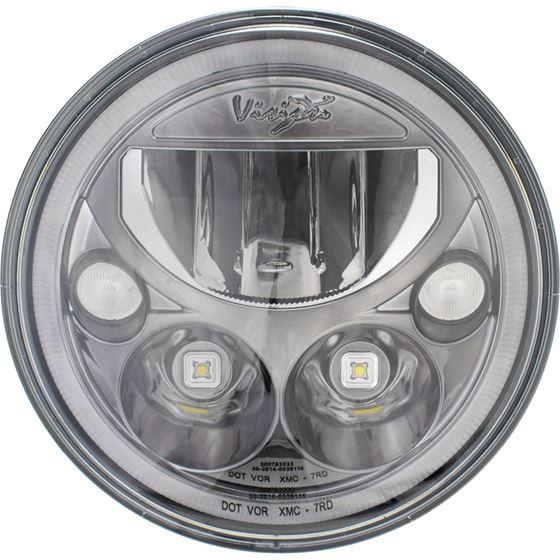 Single 7 Round Vx Black Chrome Face Led Headlight W Low-High-Halo 2
