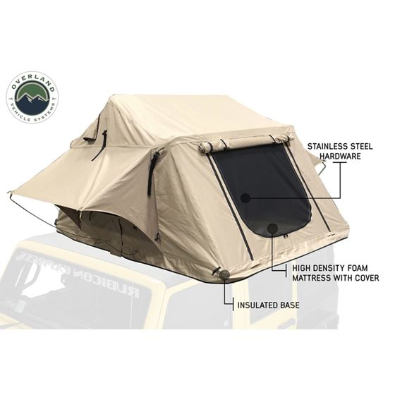TMBK 3 Roof Top Tent  Tan Base With Green Rain Fly 4