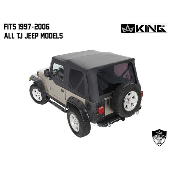 Replacement Soft Top With Tinted Upper Doors  Black Diamond  TJ 2