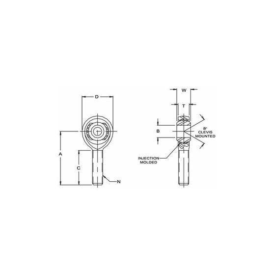 KMXL128 Male Left Hand Rod End 5000 Bore x 3416 Thread 2