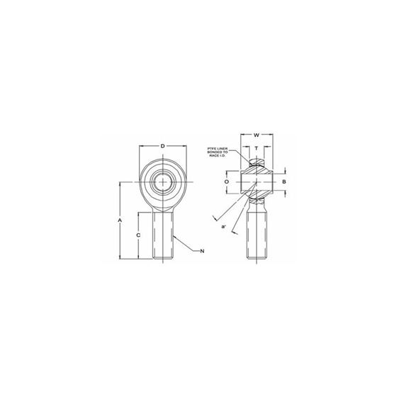 HRSMX12T Male Right Hand Rod End 7500 Bore x 7814 Thread 2