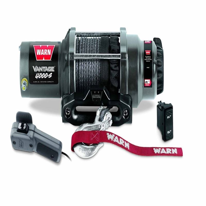 4000 Lb Cap 50 Ft Synthetic Rope Winch